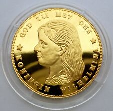 Netherlands 10 Gulden 1895 Silver Coin Proof with 24k Gold Plated Wilhelmina T69