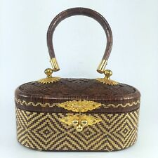 Thai Vintage Evening Clutch Bag Traditional Natural Woven Handmade Basketry