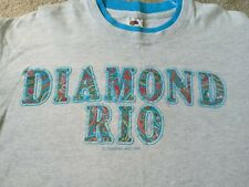 1993 Diamond Rio T-Shirt Heather Gray Teal Trim Embroidered Details Size Large