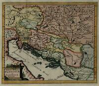 Dalmatia coast Pannonia Illyria 1711 Cluverius decorative map lovely hand color
