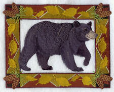 Embroidered Fleece Jacket - Bear in Autumn Leaf Frame E7045 Sizes S - XXL