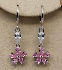 Clover Morganite Topaz Zircon Gemtone Earrings 18K White Gold Filled - 1.3''