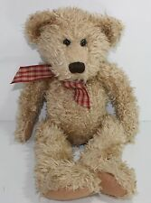 "Russ Toffee Teddy Bear 18"" Doll Plush Stuffed Animal Gingham Bow Floppy Bean"