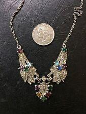 Vtg 1940s  STARET ? ART DECO edwardian  rhinestone wedding bridal necklace