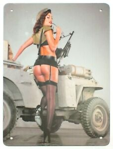 Retro Vintage 1950's Military Army Sexy Pin Up Metal Wall Sign 30 x 20 cm