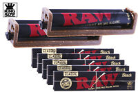 AUTHENTIC RAW 7PC Bundle - (5X) King-Size BLACK Papers + (2X) Rolling Machines