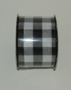Black White Gingham Ribbon New Spool Wire Edge 2.5 inch Wide 4 Yards