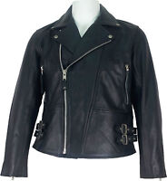 UNICORN Mens Classic Biker Style Real Leather Jacket Black #C5