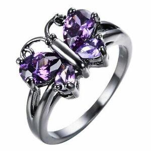 Fashion Women 925 Silver Ring Amethyst Gemstone Wedding Jewelry Rings Size 6-10
