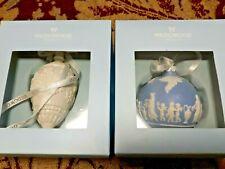 2 Nip Wedgwood Christmas Snowflake Teardrop Ornament White Blue Icon Jasperware