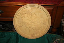 Chinese Carved Resin Tabletop Wall Plaque-Nobility Horse Carriage-Signed-Large