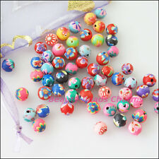 50Pcs Mixed Handmade Polymer Fimo Clay Round Spacer Beads Charms 6mm