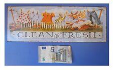 "Targa vintage ""Clean & Fresh"" (biancheria stesa, casalinga), metallo, cm 36x13"