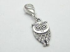 25 Tibet Silver Owl Clip On Charms Fits Chain Bracelet