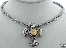 STER SILVER CROSS W. 18K GOLD CENTER COIN & SS NECKLACE