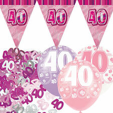 ROSA argento Bambina Sfarzo quarantesimo anniversario Bandiera Banner Party Decorazione Pack Kit Set
