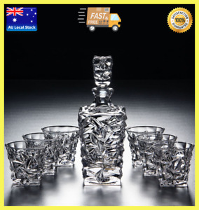 7 Piece Diamond Design Glass Whisky Drink Set 1 Whisky Decanter + 6 Whisky Cups