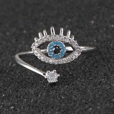 Crystal Blue Eye Wedding Ring Jewelry Fashion 925 Silver Ring Stainless Steel