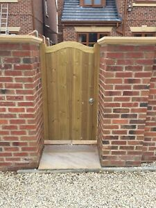 Solid Swan Neck Timber Gate. Bespoke Wooden Gates Made To Order. Treated