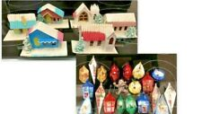 6 Vintage Japan cardboard houses + 20 plastic hanging tree ornaments