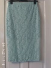 TURQUOISE LACY PENCIL SKIRT, SIZE 14