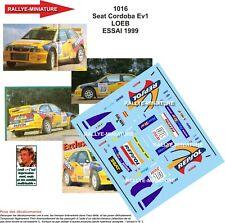 DECALS 1/24 REF 1016 SEAT CORDOBA WRC SEBASTIEN LOEB ESSAI ECHAPPEMENT 1999