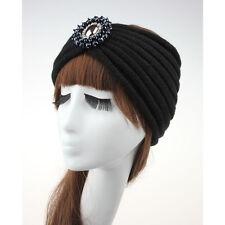 Women Ladies Winter Crochet Knitted Crystal Rhinestone Turban Headband Hair Band
