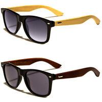 Premium Men Sunglasses  Style Black Frame Wh Dark Lens Real Wood Temple