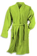 Damen Herren Bademantel grün Morgenmantel Sauna Frottee Baumwolle Schalkragen