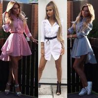 Women Stripe Shirt Dress Bardot Wrap Ruched Sleeves Frill Flounce Hem Blouse Top