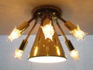 Vintage SPUTNIK Ceiling Light Fixture Lamp w/ Starlite Bulbs Mid Century Modern