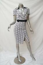 KAREN MILLEN White Lace Black Trim Derby Day Races Trench Dress UK8 Fit AU6 $595