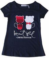 t-shirt maglietta donna ragazza cotone applicazione paillets gatti taglia S/M