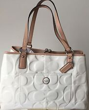 Coach Signature Patent Leather Embossed Off White Tan Carryall Bag NEW