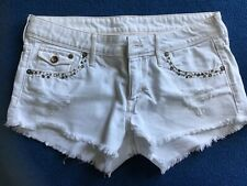 Ladies White Denim Distressed Shorts From H.& M. Size 10