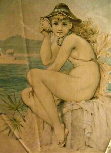 EX RARE Victorian Tobacco Silk NUDE GIRL Fairy SEA MAIDEN Naiad OCEAN Beach