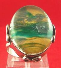 DICHROIC GLASS SCENE STERLING SILVER RING SIZE 6.5 (65750)