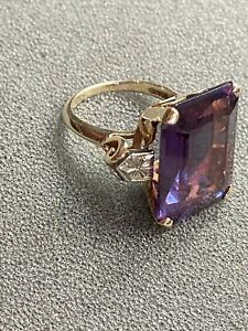 Sz6 10.49ct Natural Amethyst Solid 10k Yellow Gold Ring Antique ART DECO 9.g