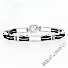 "New Italian Men's 14K White Gold & Black Rubber 8.5"" Fancy Link Chain Bracelet"