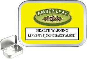 Amber Leaf 1oz Silver Hinged Tobacco Tin,50ml Stash Can,Bait Box.Pill Tin,Store