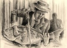 Playing Blues on a Bass Guitar 8X10 Best fish art print Pencil Art Barry Singer