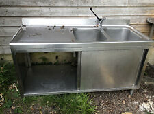 More details for commercial double bowl stainless steel sink with sliding doors and bottom shelf