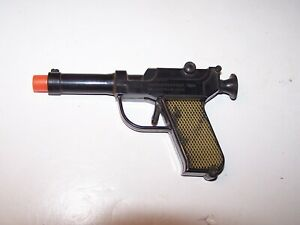 Vtg black plastic Knickerbocker spring loaded cork toy gun pistol not working