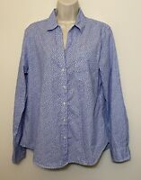 NWT Gap Large Button Down Shirt Blue & White Floral Long Sleeve Collared Tip