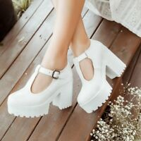 NEW Ladies Chunky Heels Platform Pumps T-Bar Ankle Buckle Casual Shoes UK Size