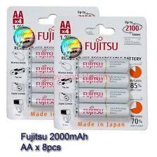 Fujitsu AA rechargeable Battery x 8 pcs 2000mAh Made in Japan FREE tracking