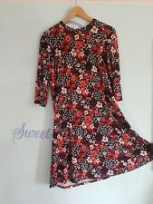 Ladies M&S Midi Shift Dress Brown Black Floral Size 16