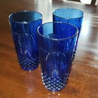 Vintage AVON Royal Sapphire Cobalt Blue FRANCE 14 oz Glass (lot of 3)