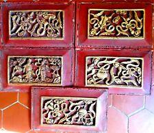 LOT 5 PANNEAUX ANCIENS BOIS DORE / CHINE
