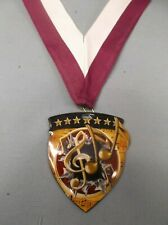"full color Music shield medal award wide maroon/white neck drape 2 1/2"" x 3"""